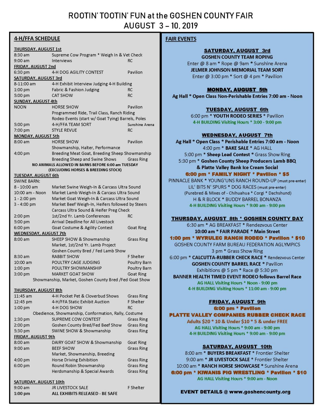 2019 Goshen County Fair Schedule Photo