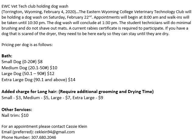 EWC Vet Tech Dog Wash Photo
