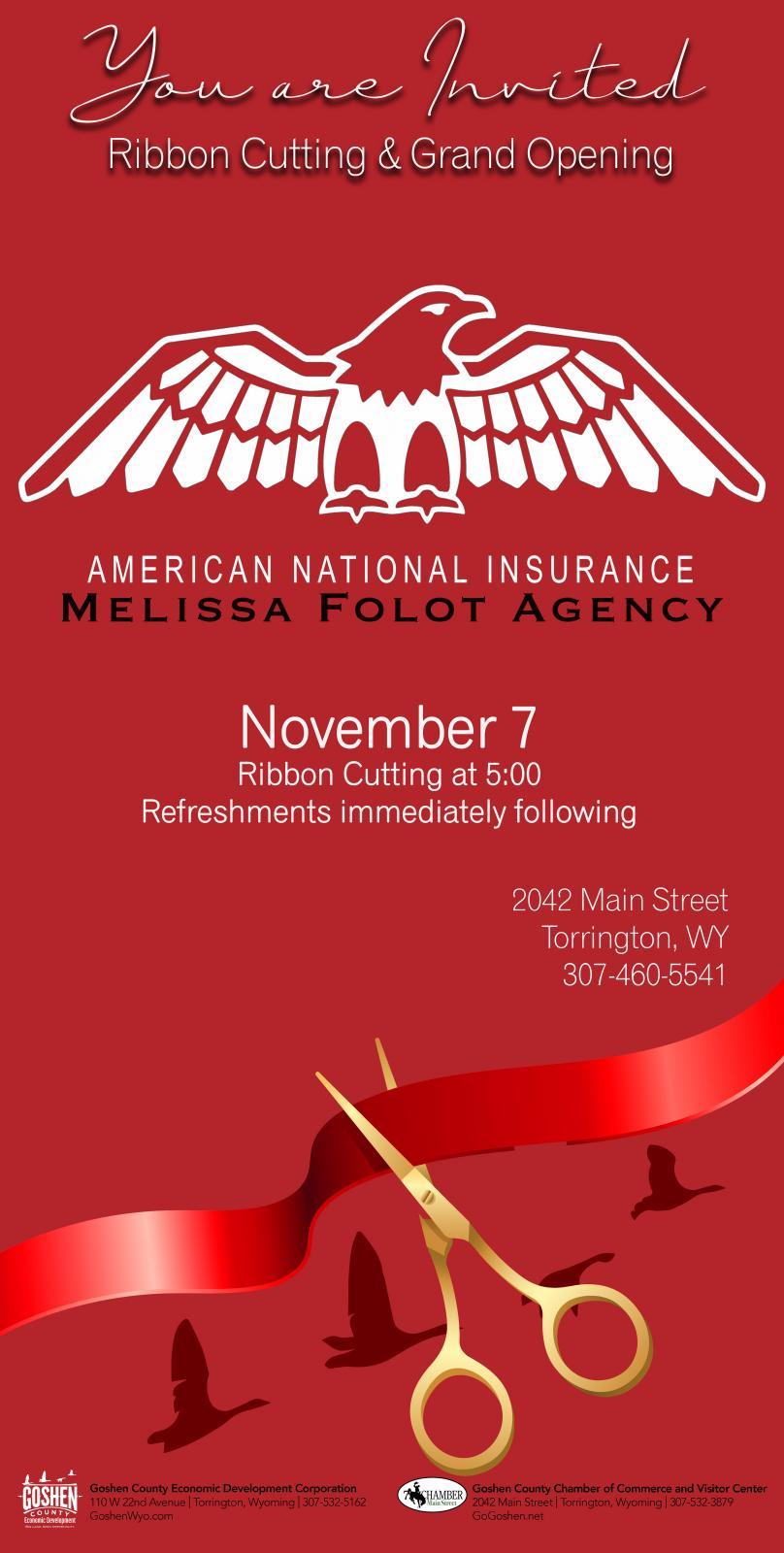 American National Insurance Melissa Folot Agency Ribbon Cutting Photo