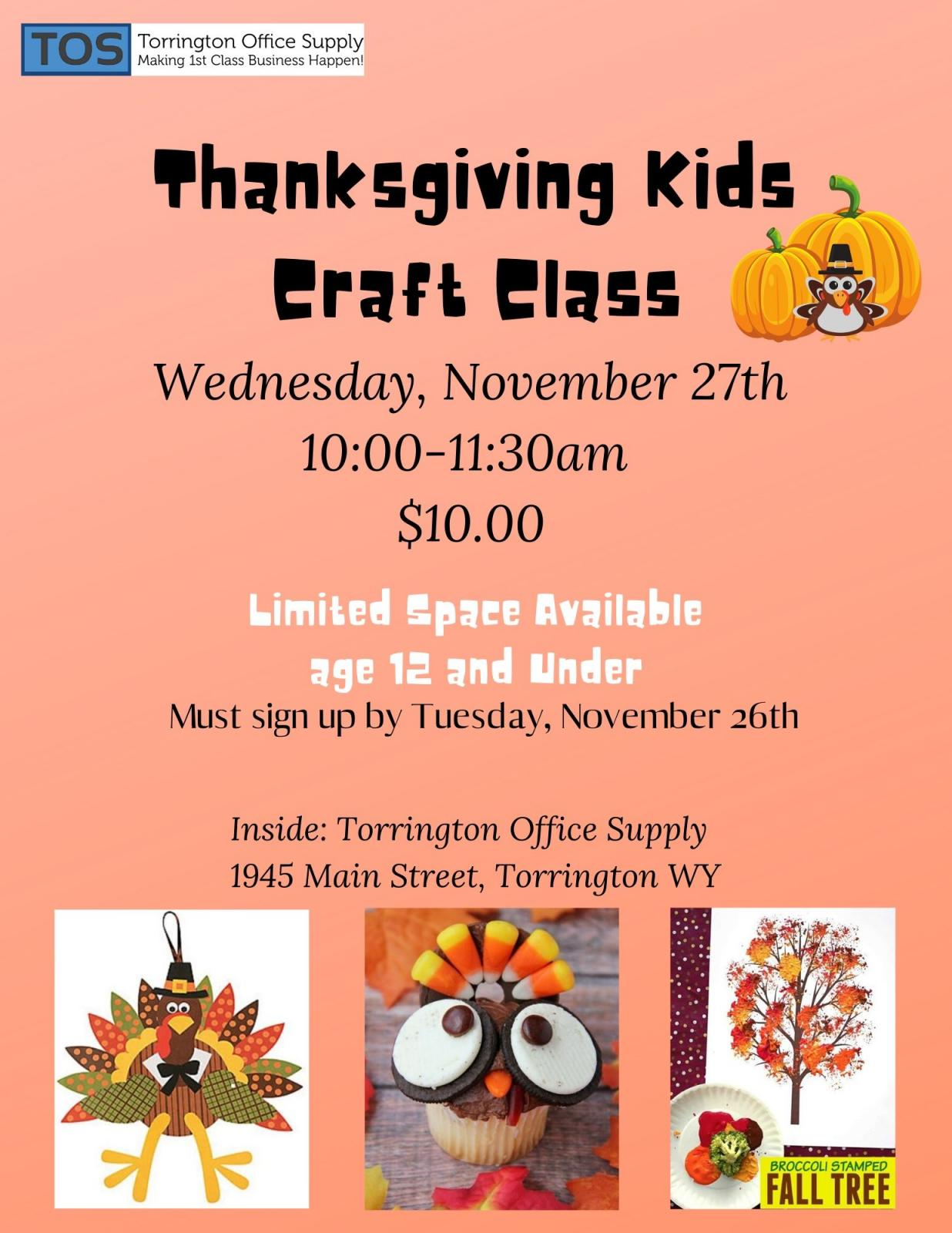 Thanksgiving Kids Craft Class Photo