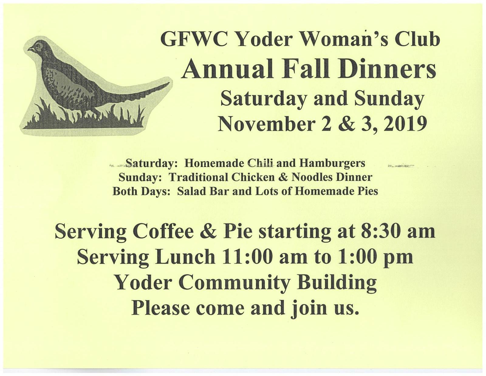 GFWC Yoder Woman's Club Annual Fall Dinners Photo