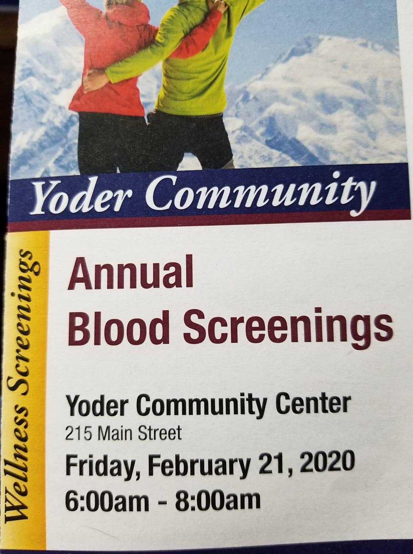 Annual Blood Screenings Yoder Community Photo