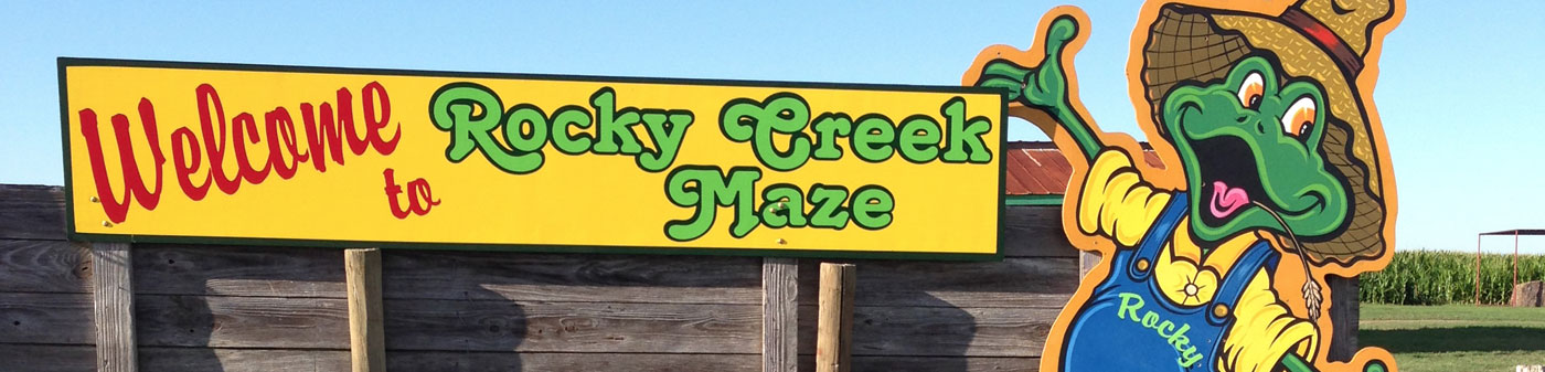 Rocky Creek Maze sign in Moulton Texas