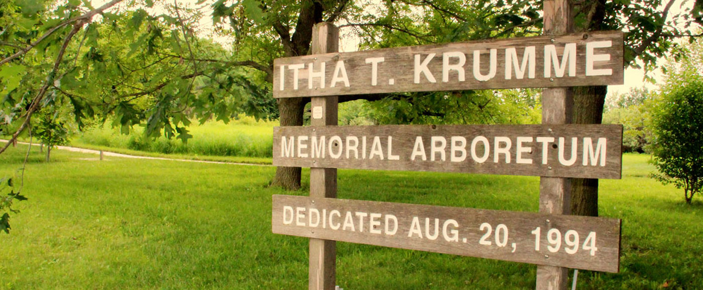 itha t. krumme memorial arboretum sign