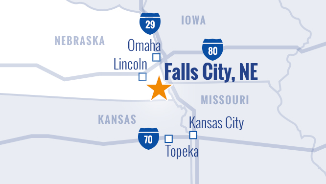 Falls City Offers a Convenient Heartland Location for Manufacturing & Distribution Companies Photo - Click Here to See