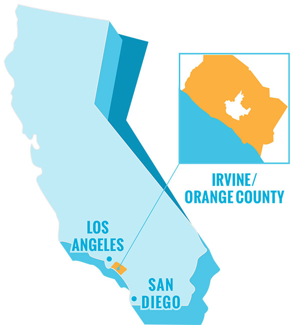 CA map showing Orange County and Irvine