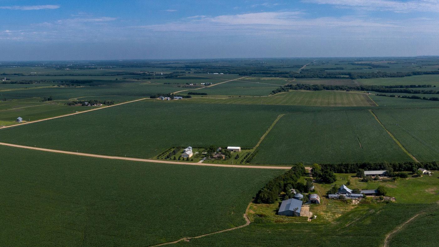 aerial view of green farm fields
